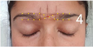 shape your eyebrows - mark the top and bottom to determine the brow thickness.