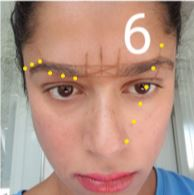 How to shape your eyebrows - find the peak of the brow by drawing a line from the nostril through the pupil.