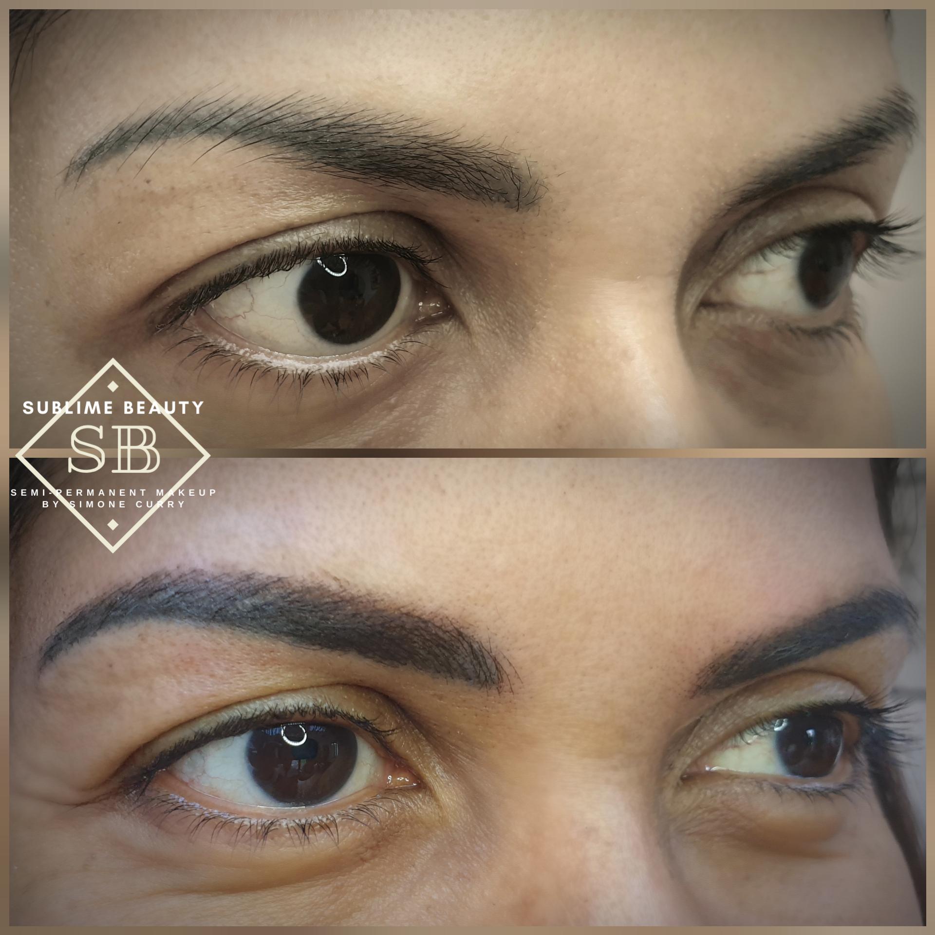 Combination brow over previous eyebrow SPMU example