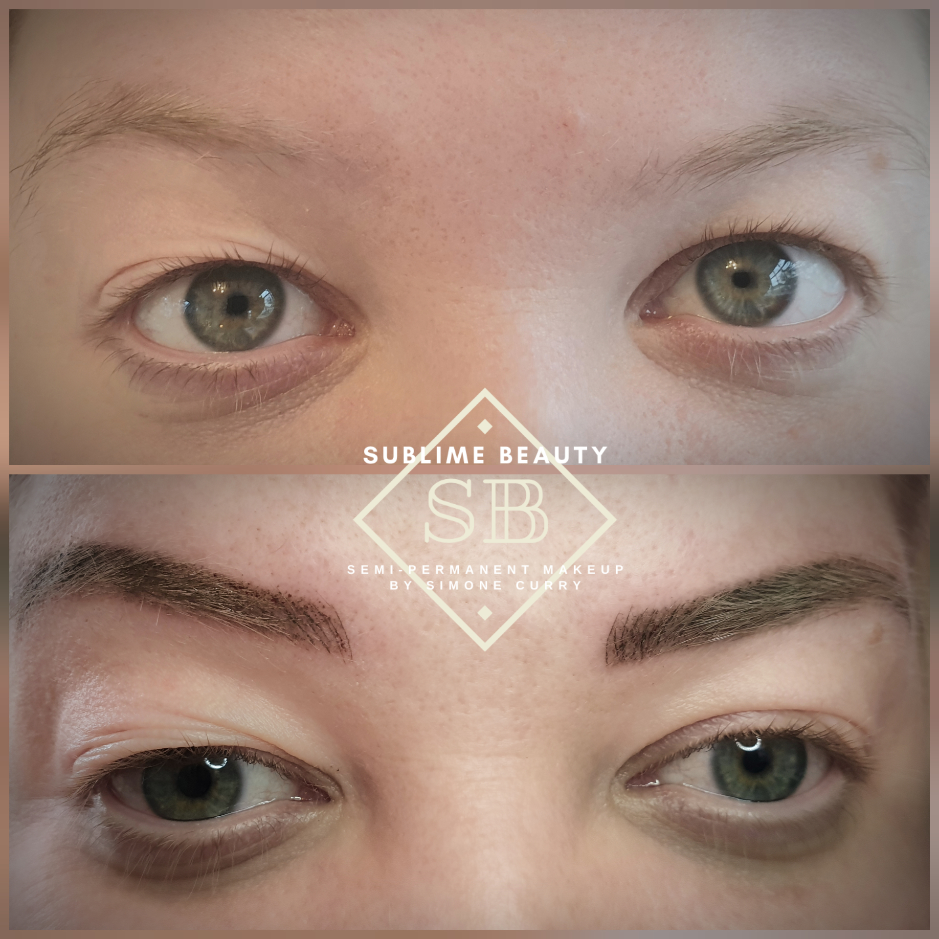 Semi permanent makeup combination eyebrow treatment example