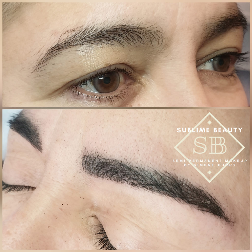 Combination brow semi permanent makeup before and after