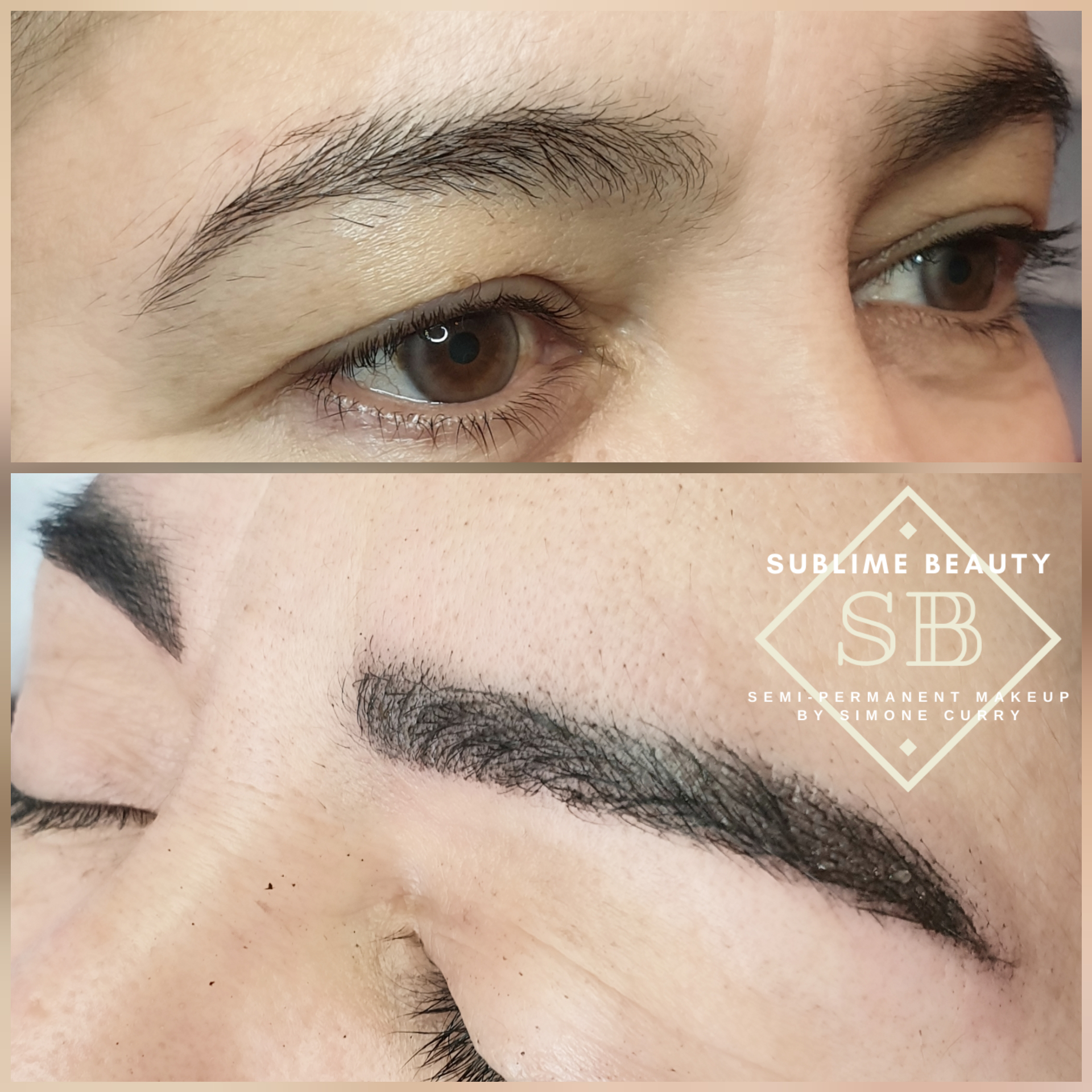 Combination brow semi permanent makeup before and after.