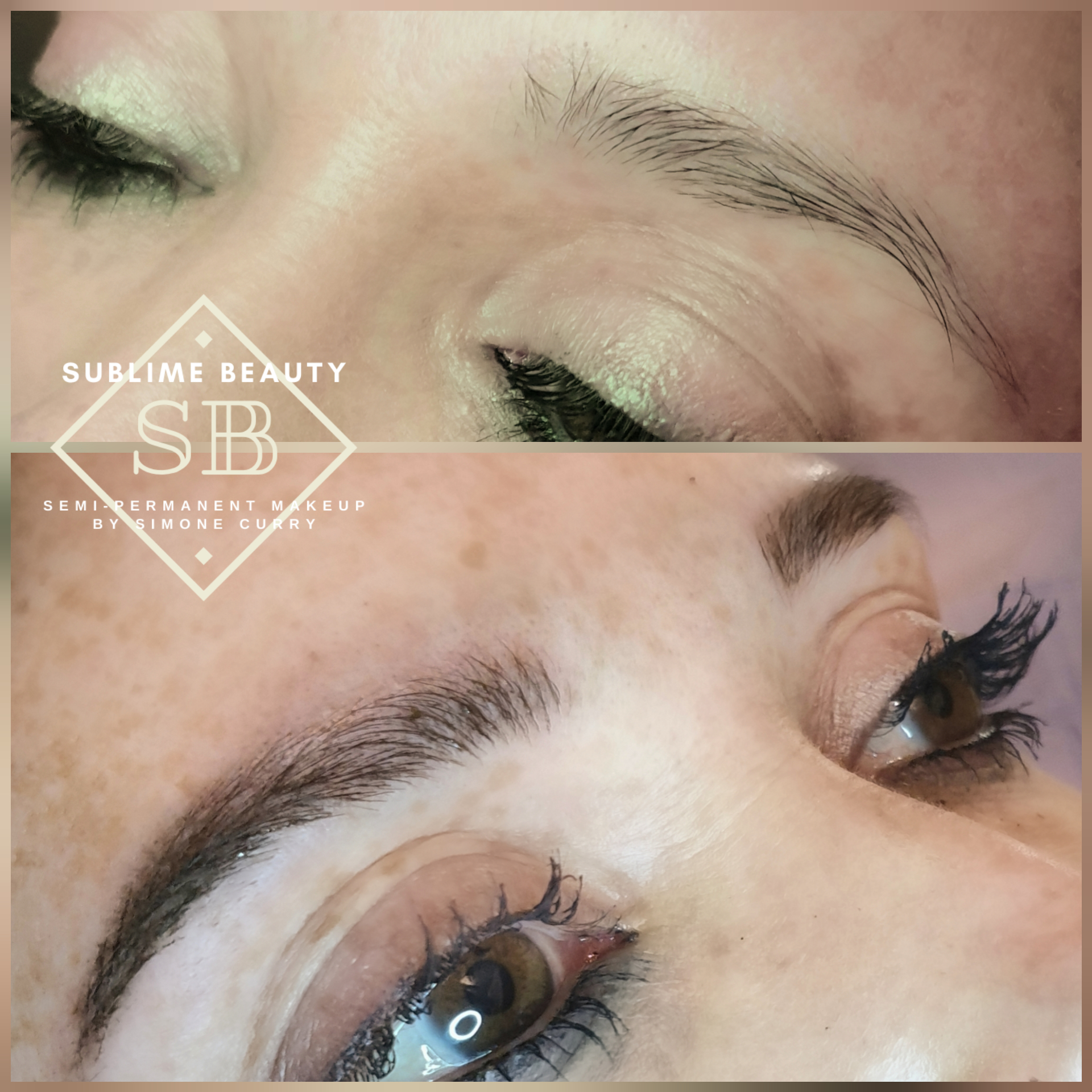 Semi permanent eyebrows showing combination brow treatment