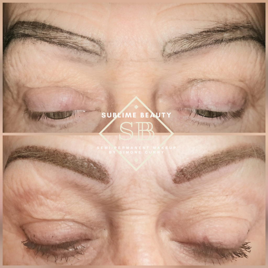 Powder brow SPMU treatment showing face mapping and results