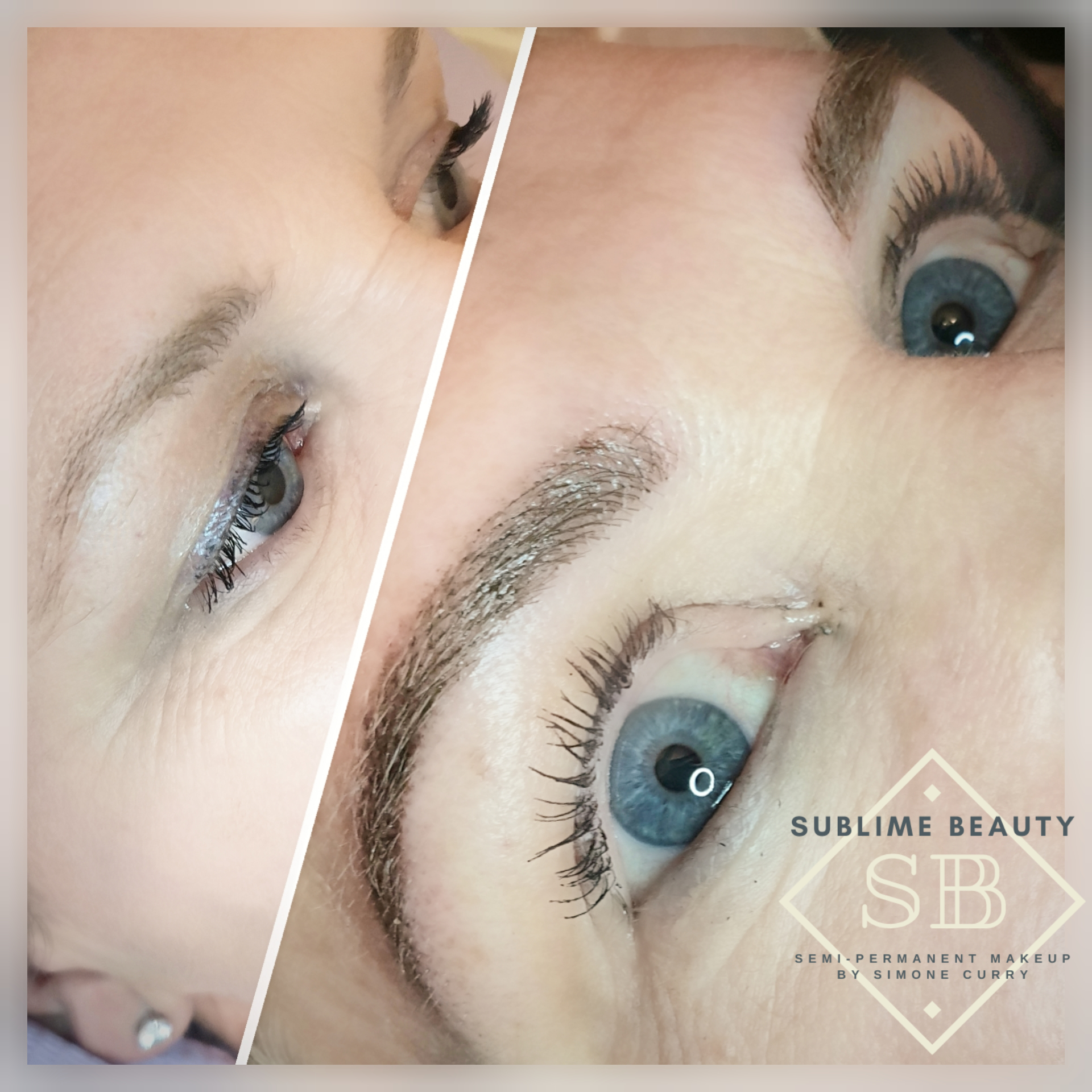 Semi permanent makeup combination eyebrow treatment