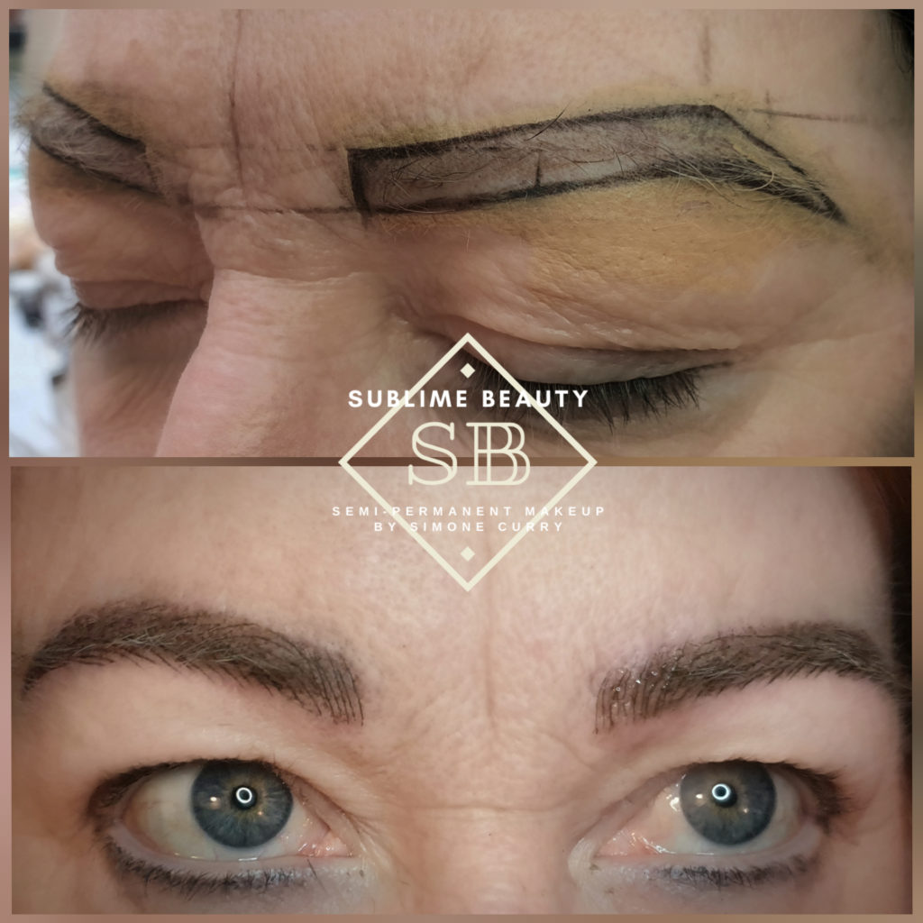 Combination brow SPMU treatment before and after