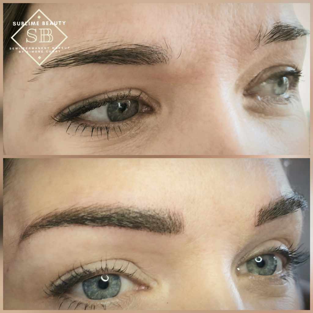 Semi permanent makeup combination eyebrow treatment