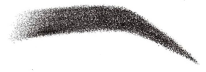 Hand-drawn example of an ombre brow