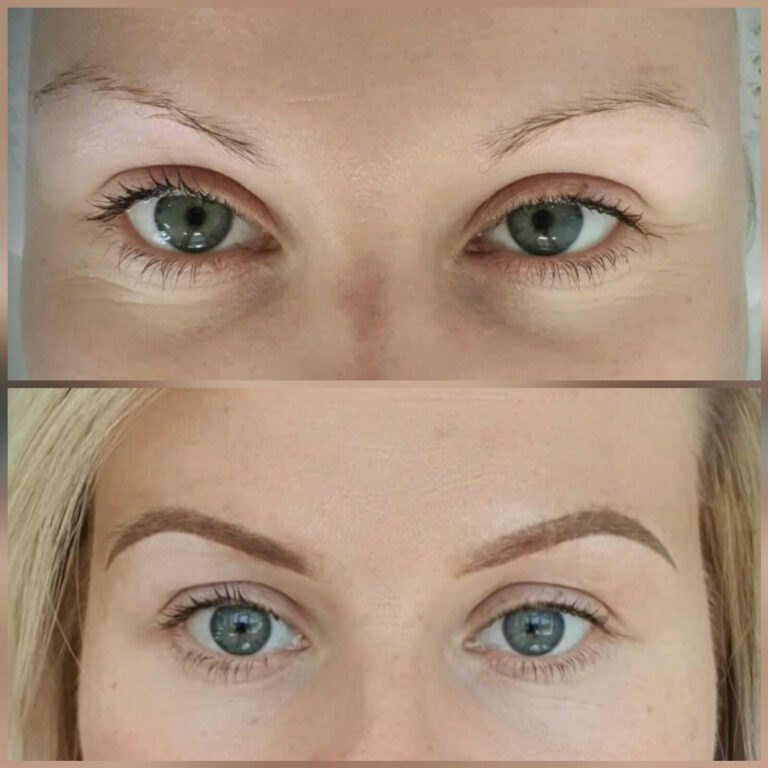 Ombre brow eyebrow treatment before and after treatment
