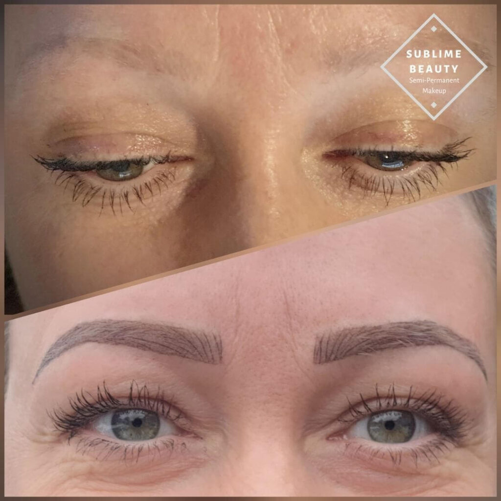 Hybrid brow before and after