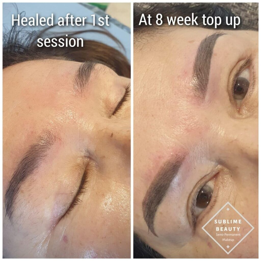 Powder brow before and after healed results and top up
