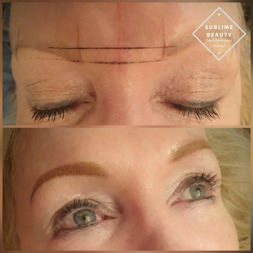 Powder Brow before and after on pale skin using Tina Davies 'Blond'