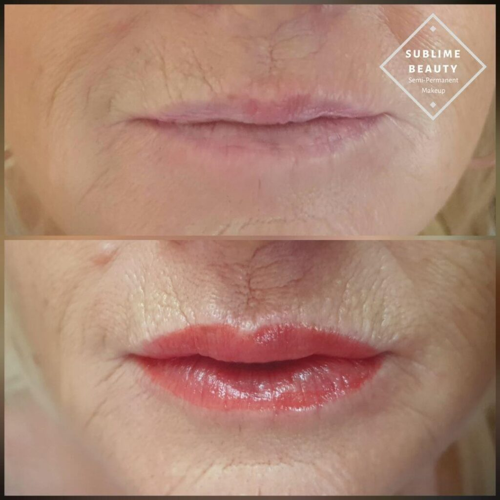 Lip blush, lip tattoo, permanent lipstick using Tina Davies pigment