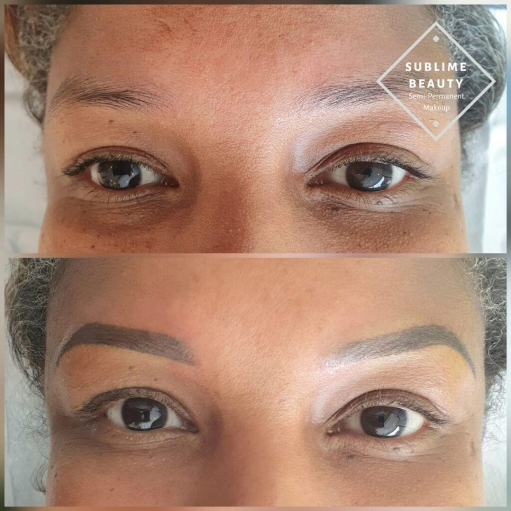 Powder Brow using Tina Davis Ebony and Bold Brown before and after