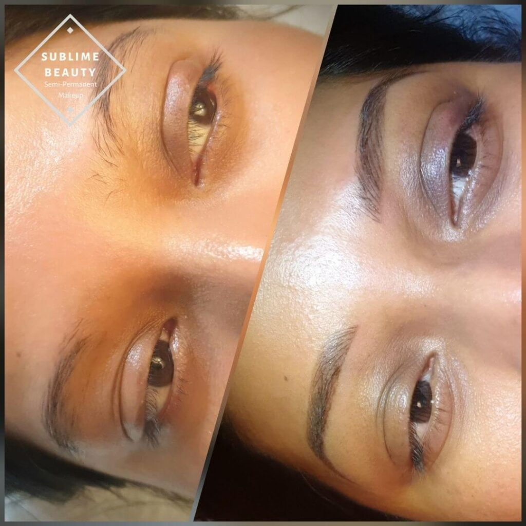 Combination brow, semi-permanent eyebrows before and after